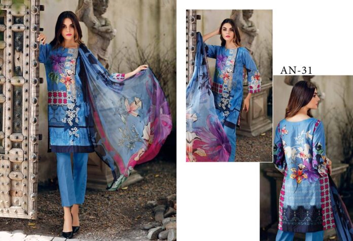 Embroidered Lawn Dress with Embroidered Trouser