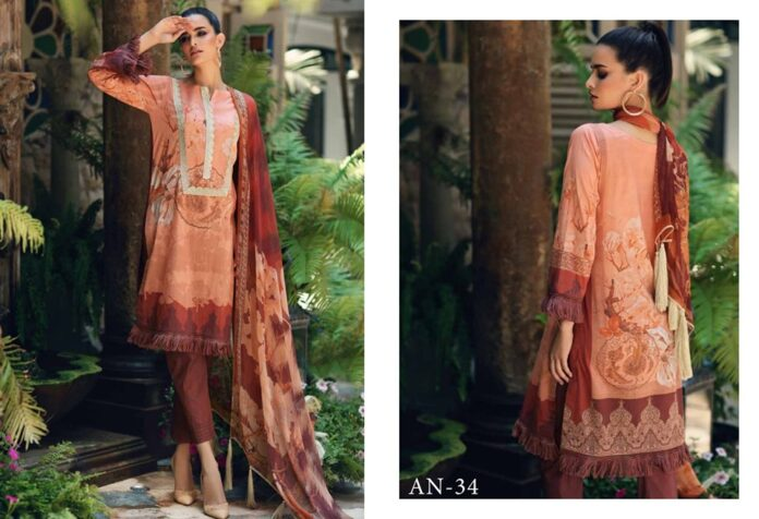 Latest Embroidered Lawn Suit with Chiffon Dupatta