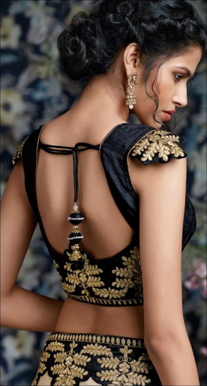 Open Black And Gold Back Blouse Back Neck Design