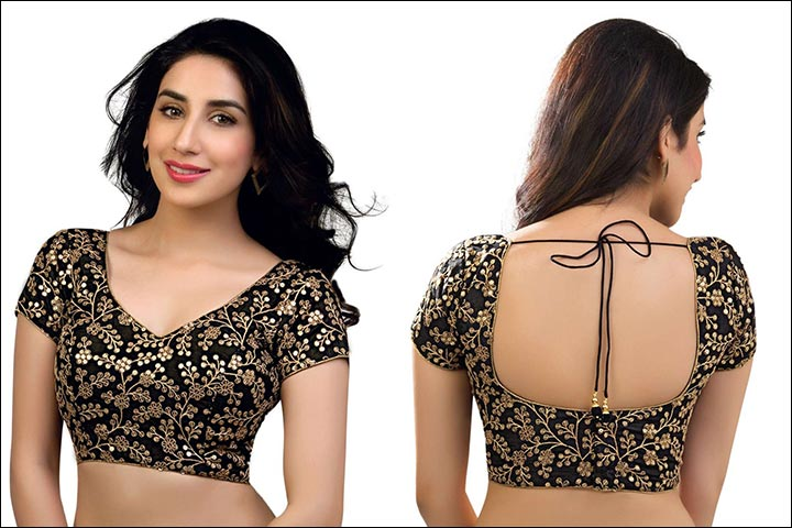 Zari Black Blouse Back Neck Design