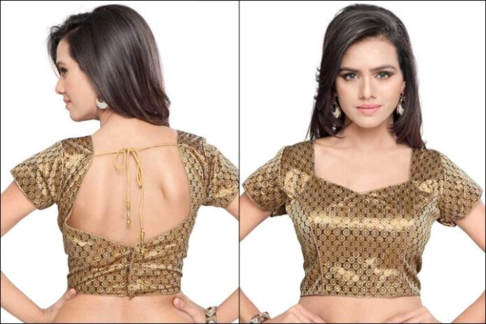 Sheen Ethnic Brown Blouse Back Neck Design