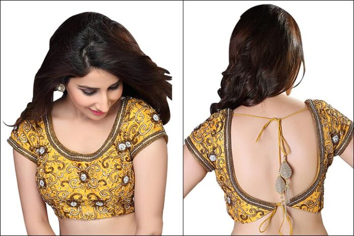 Mustard Yellow Embroidered Blouse Back Neck Design