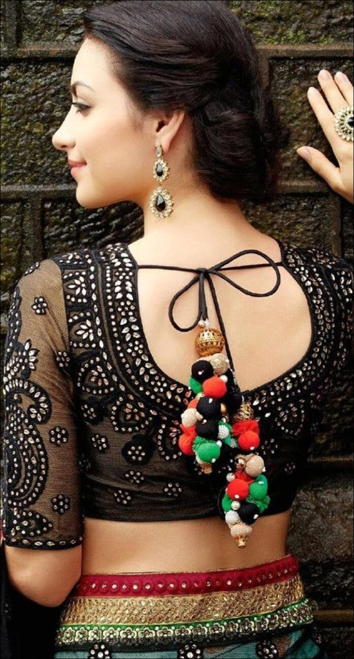 Beautiful Sheer Black Blouse Back Neck Design