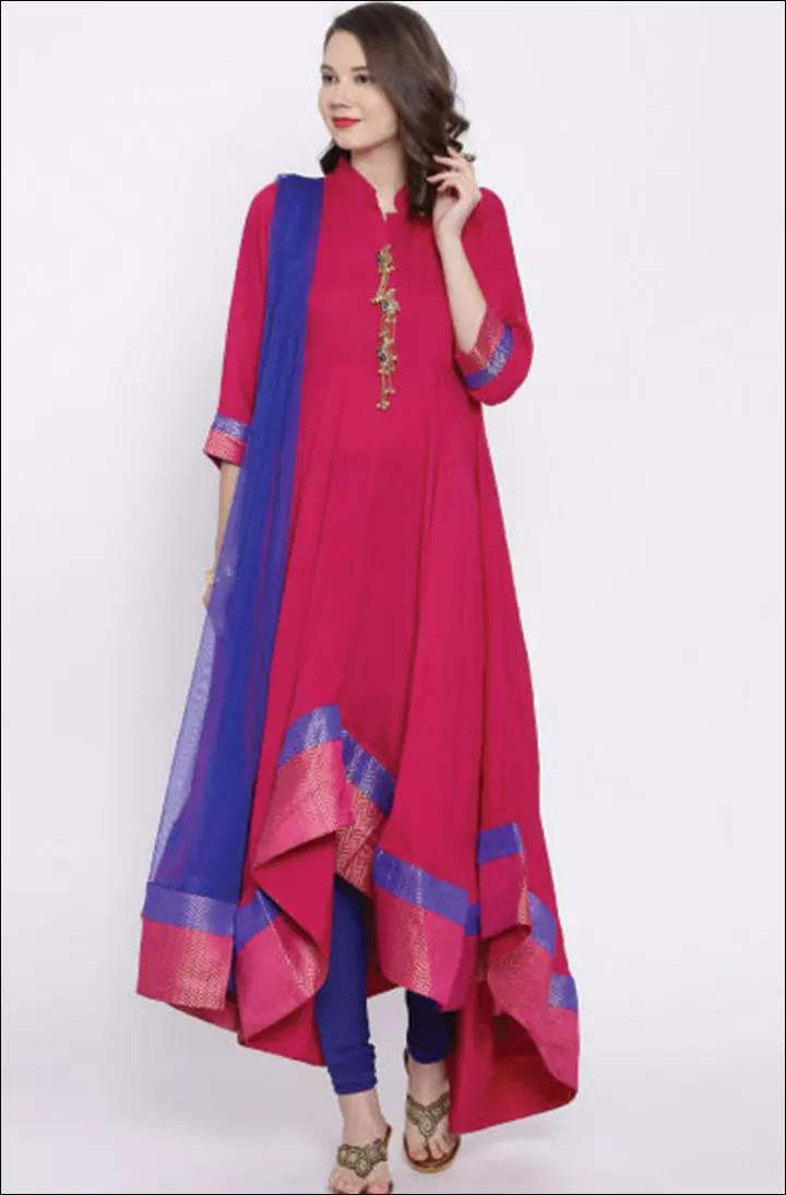 Mandarin-Collar-Neck-Style-On-Churidar-Kameez