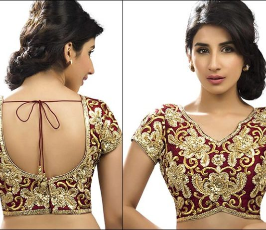 Maroon And Gold Embroidered Blouse Back Neck Design