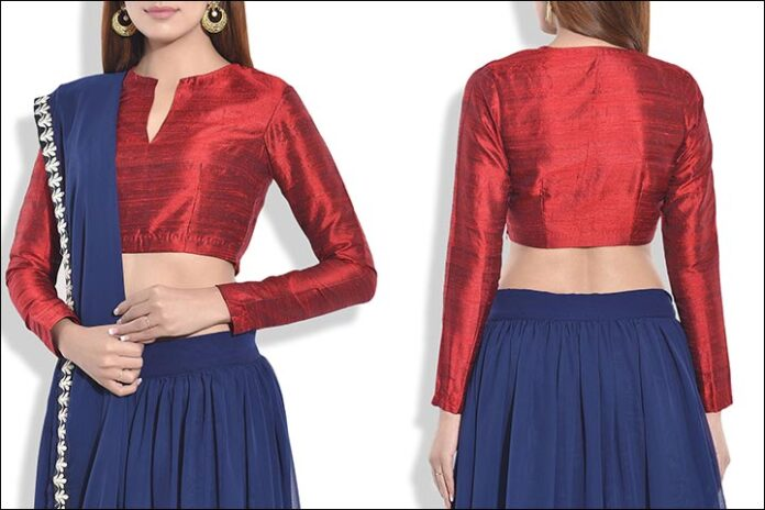 Maroon Blouse Back Neck Design Raw Silk