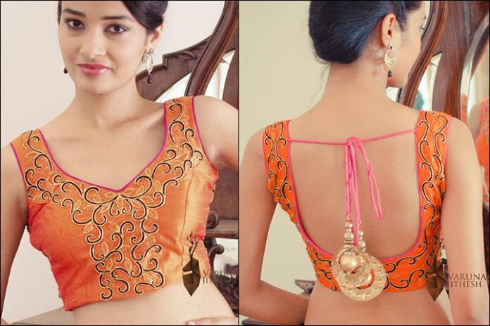 Orange Embroidered Blouse Back Neck Design