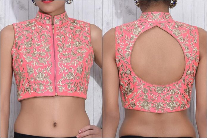 Raw Silk Pink And Gold Blouse Back Neck Design