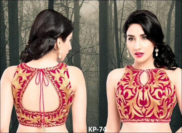 Gold and Crimson Blouse Back Neck Design