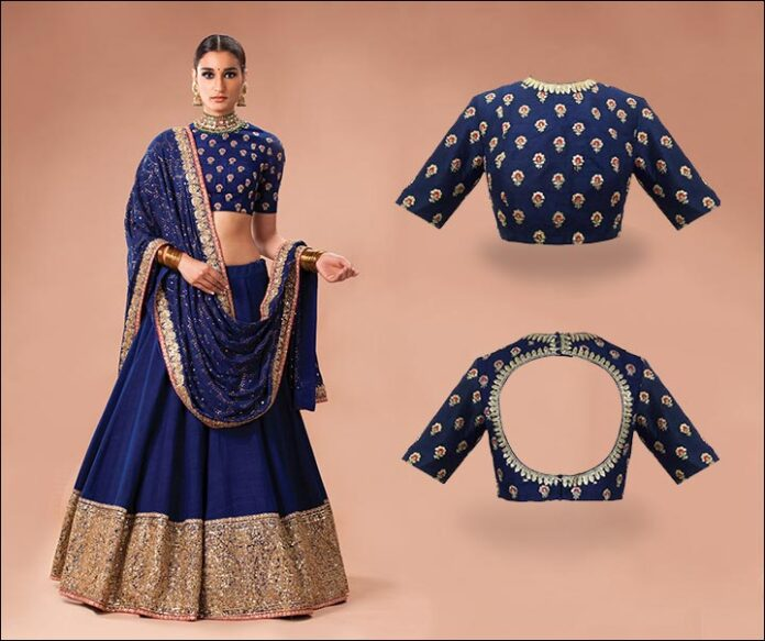 Blue Sabyasachi Blouse Back Neck Design