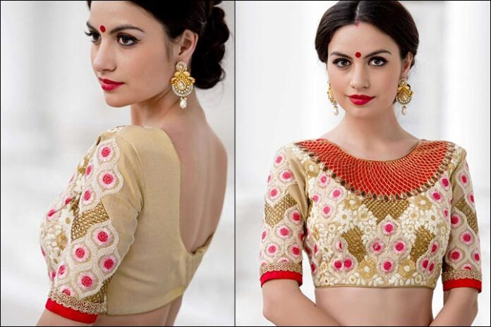 Resham Silk Blouse Back Neck Design