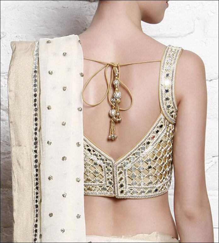 Mirror Studded V-CutBack Neck Design