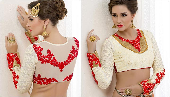 Georgette White Blouse Back Neck Design