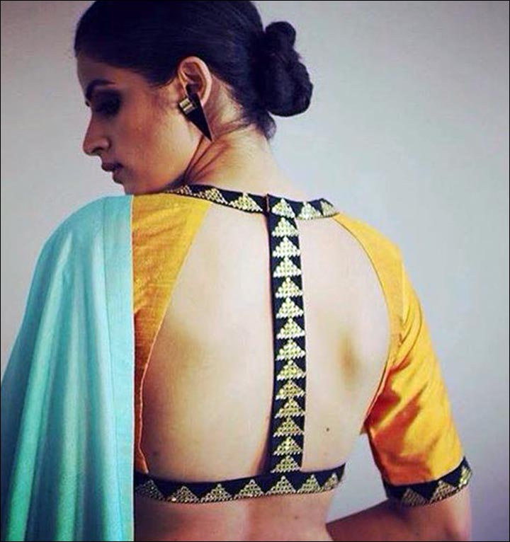 Yellow-Open-Back-blouse-design