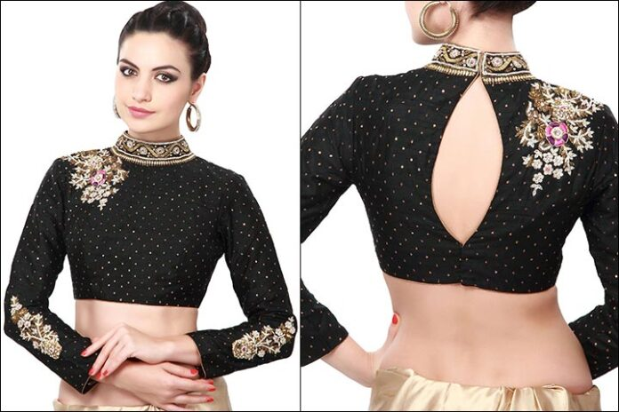 best-designer-black-blouse-back-neck-design