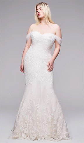 mermaid-gown-with-tulle-off-shoulder-drape