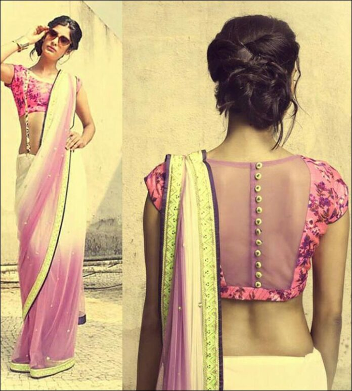 Extremely Pink Blouse Back Neck Design