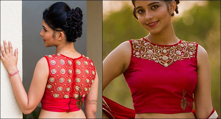Pink Cropped Blouse With Back Neck Design