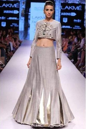 Grey-embroidered-crop-top-with-matching-lehenga