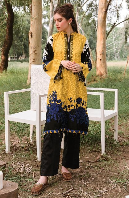 Unstitched 1PC Embroidered Cottel Shirt 2020