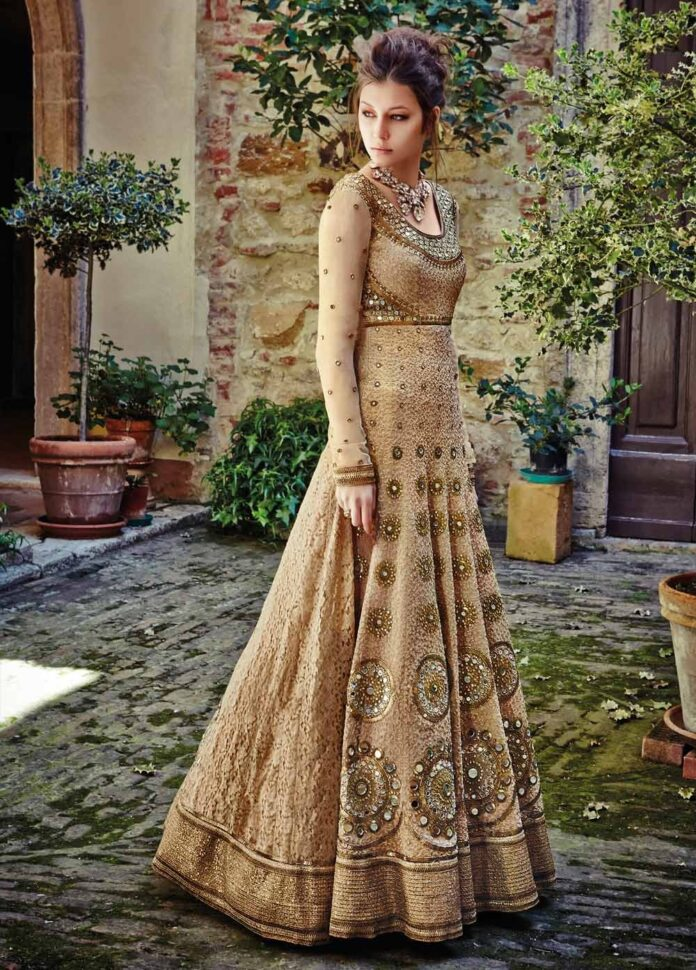adorable-golden-colour-mirror-work-wedding-lehenga-choli