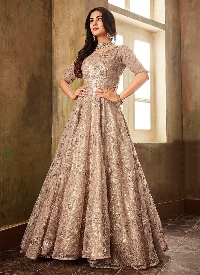 champagne-embroidered-anarkali-with-pearl-drop-belt