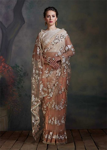 champagne-golden-saree