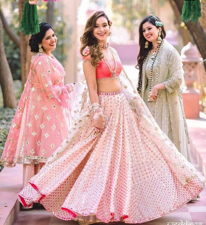 gleaming-baby-pink-colour-mirror-work-lehenga-choli
