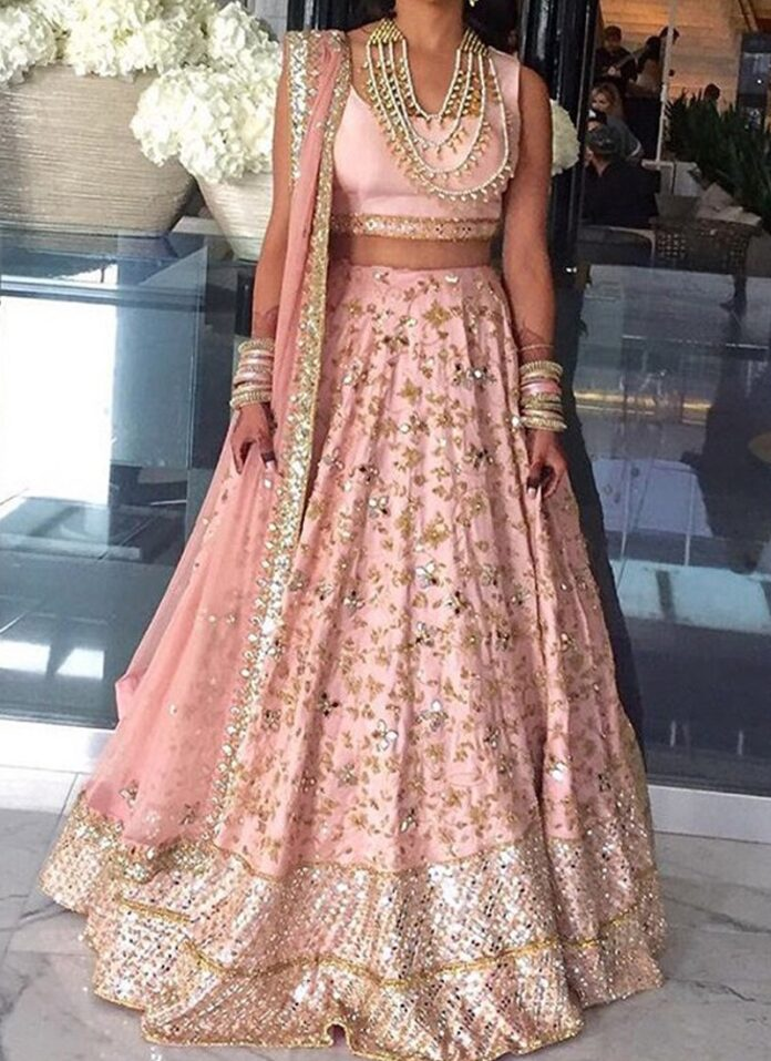 impeccable-baby-pink-raw-silk-panel-style-mirror-work-lehenga-choli