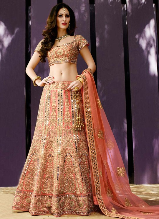 peachish-pink-bridal-mirror-work-lehenga