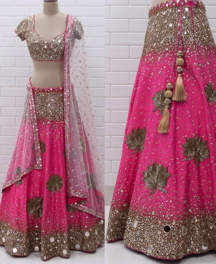 pink-georgette-mirror-work-lehenga-choli
