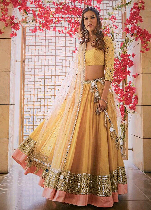 yellow-and-white-mirror-work-lehenga-choli