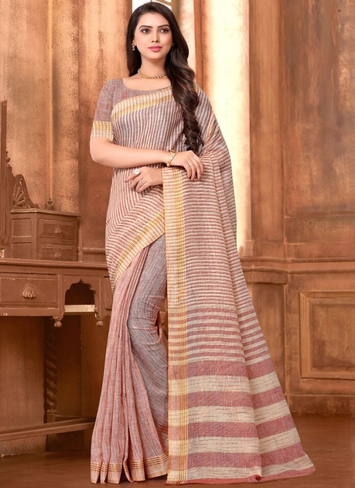 linen-sarees-blouse-designs