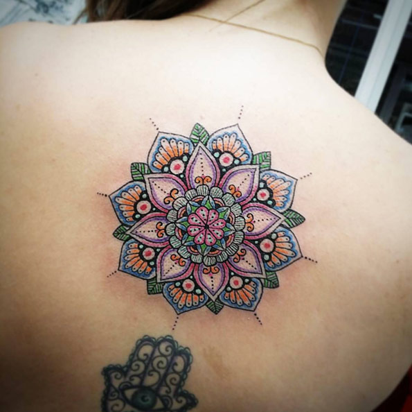 Beautiful-Colored-Mandala-Tattoo-On-Upper-Back
