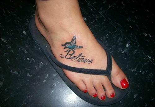 Believe And Butterfly Foot Tattoo For Girls
