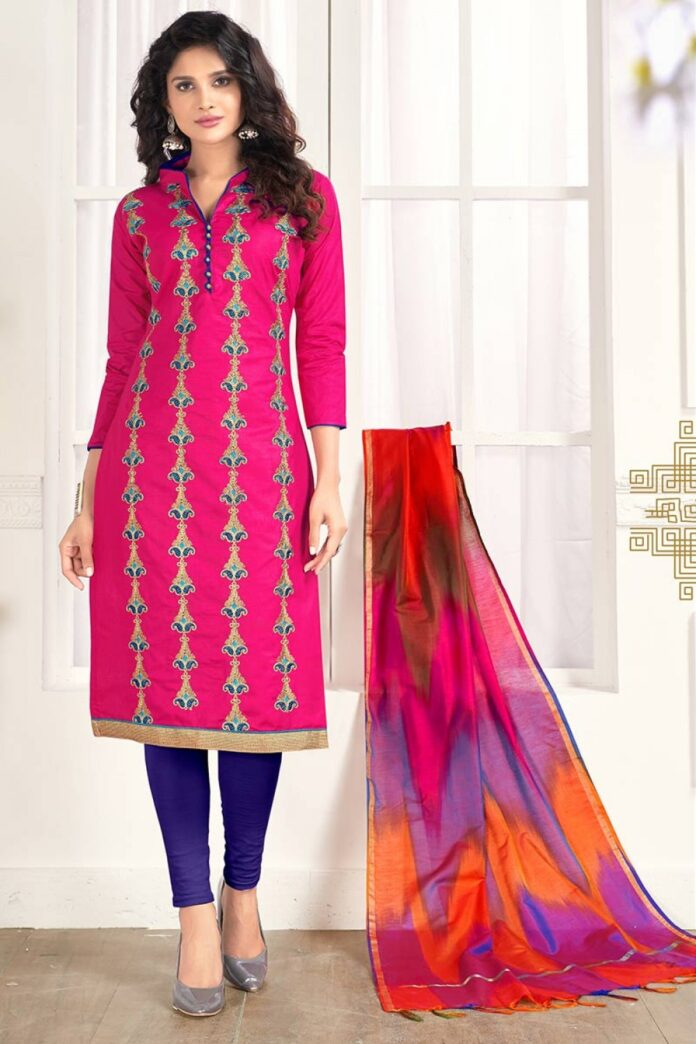 Dark-Pink-color-Cotton-Churidar-Suit