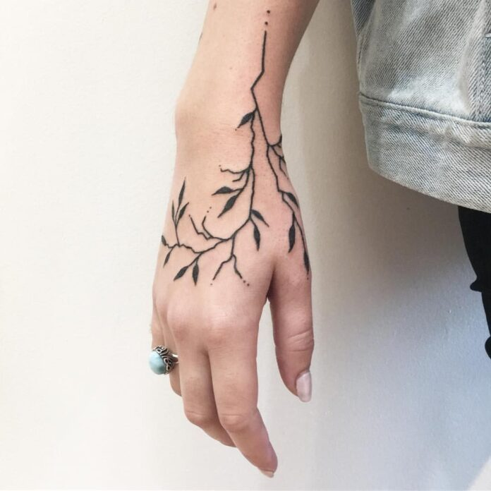 Leaf Vein tattoos for hand