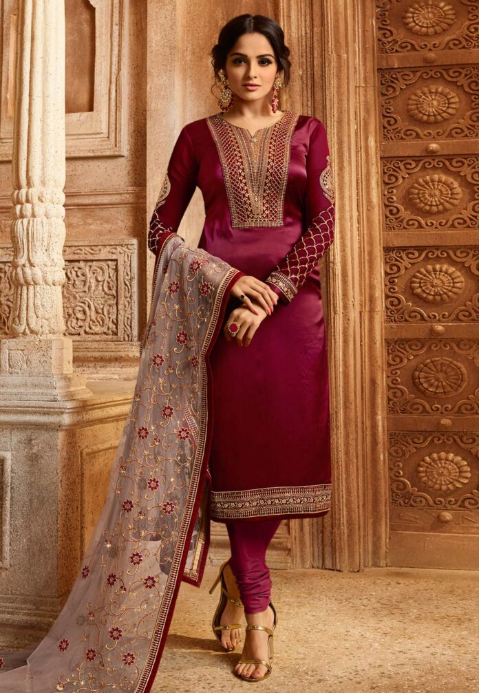 Magenta-Satin-Embroidered-Churidar-Suit