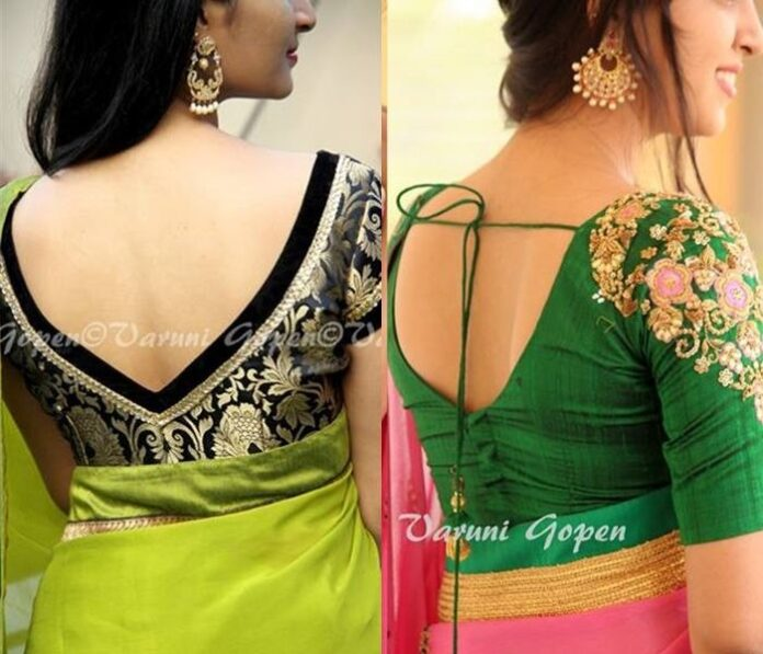 Silk Saree Blouse Designs Neck Back