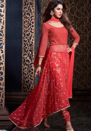 The-red-net-wedding-churidaar-suit