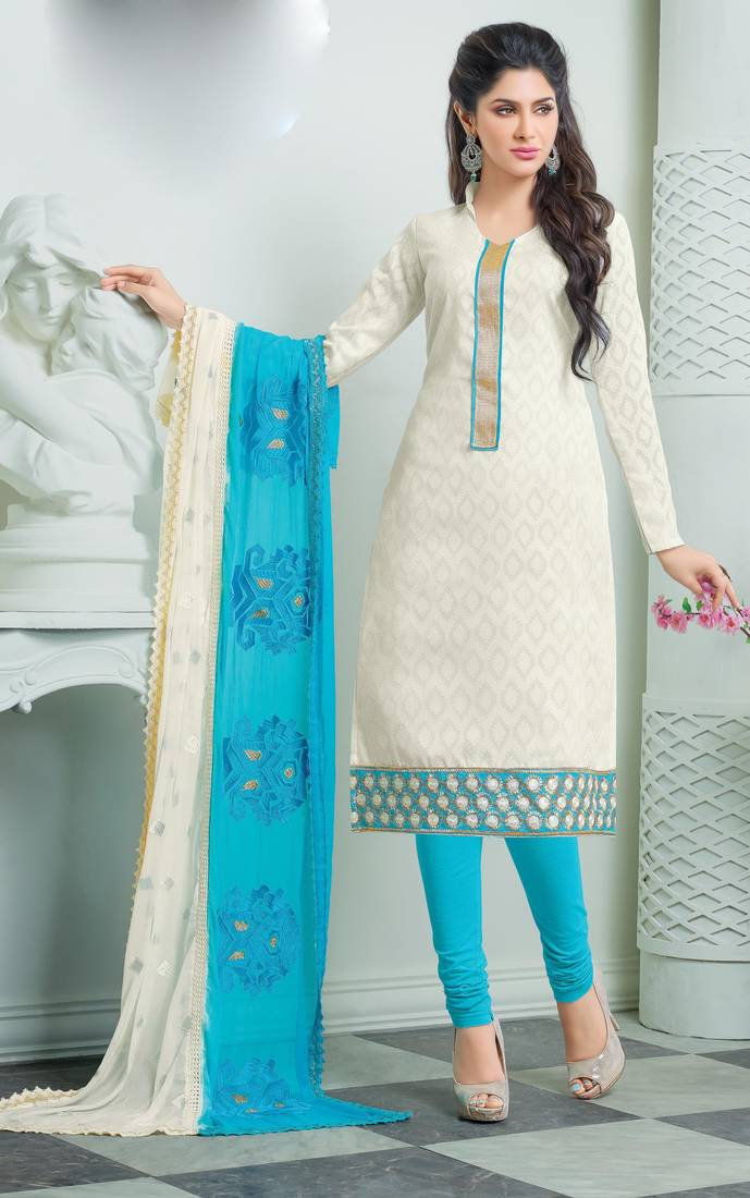 White Cotton Jacquard Embroidered Churidar Suit