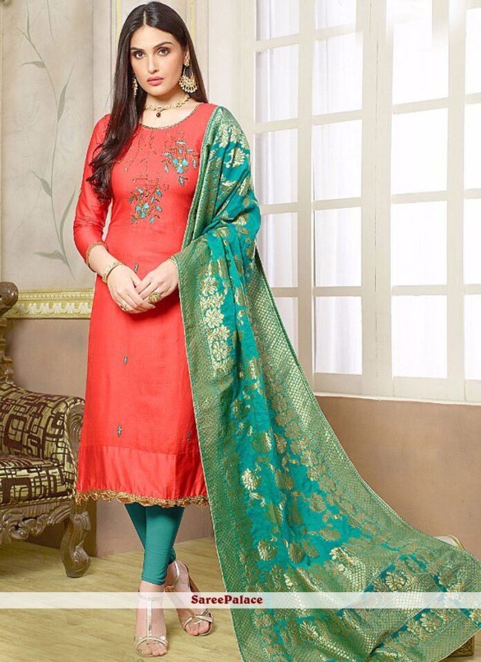 noble-pink-resham-work-cotton-silk-churidar-designer-suit