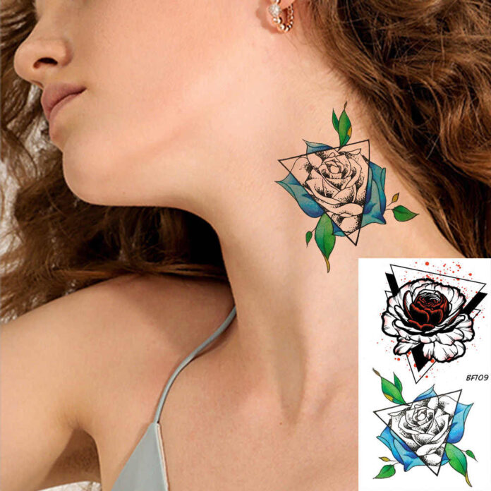 rose tattoo for girls on neck