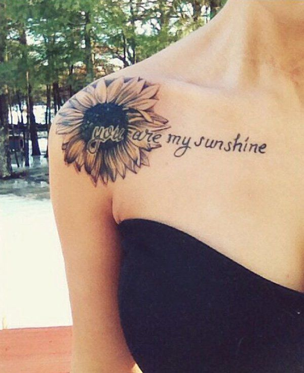 sunflower tattoos for girls on shoulder