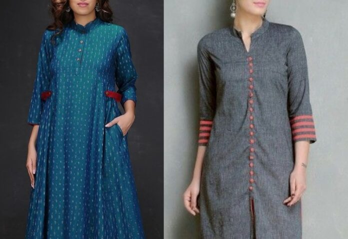 Attractive Collared Scoop Salwar Kurta Neck Designs