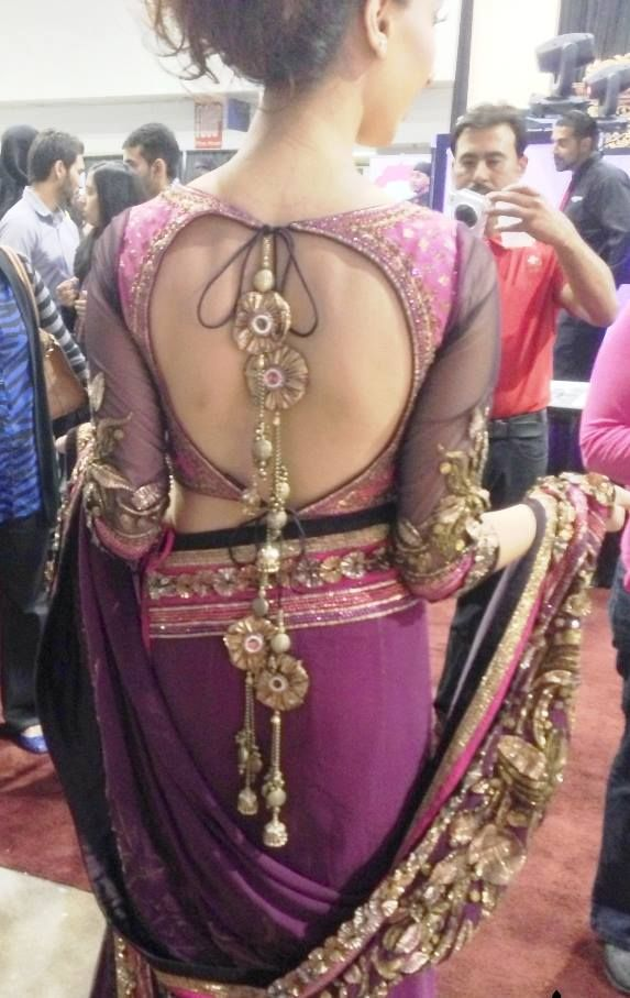 Backless Blouse Along with Large Stones