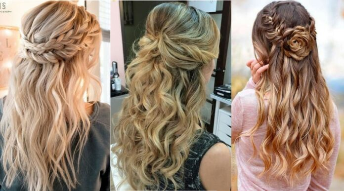 Criss-cross Half-Up Half-Down Hairstyles