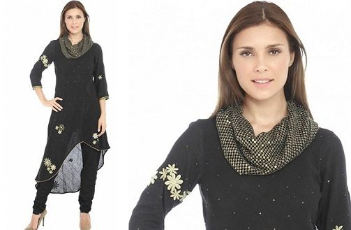 pretty-cowl-black-kurti-neck-designs