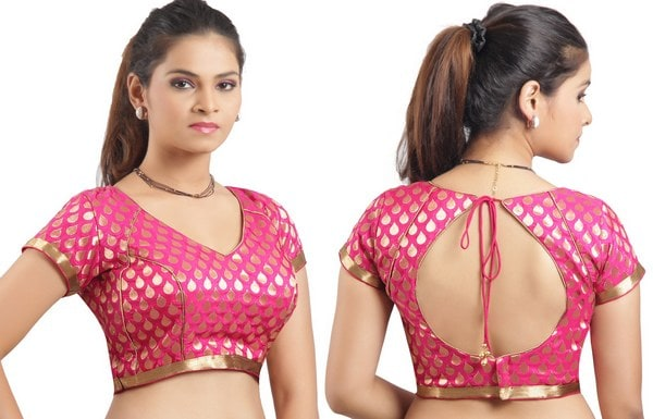 stylish-pink-asymmetrical-blouse-designs