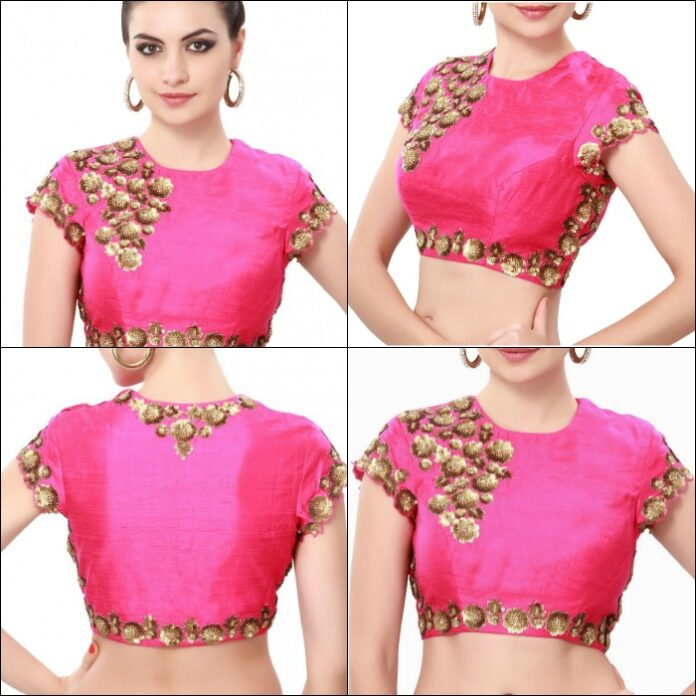 latest-pink-high-neck-embroidered-blouse